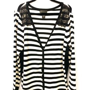 Lane Bryant Black & White Cardigan